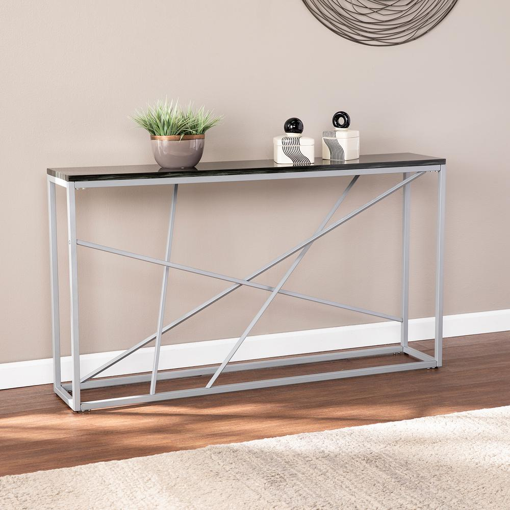 Southern Enterprises Salla 52 In Black Faux Slate Silver Standard Rectangle Composite Console Table Hd530130 The Home Depot