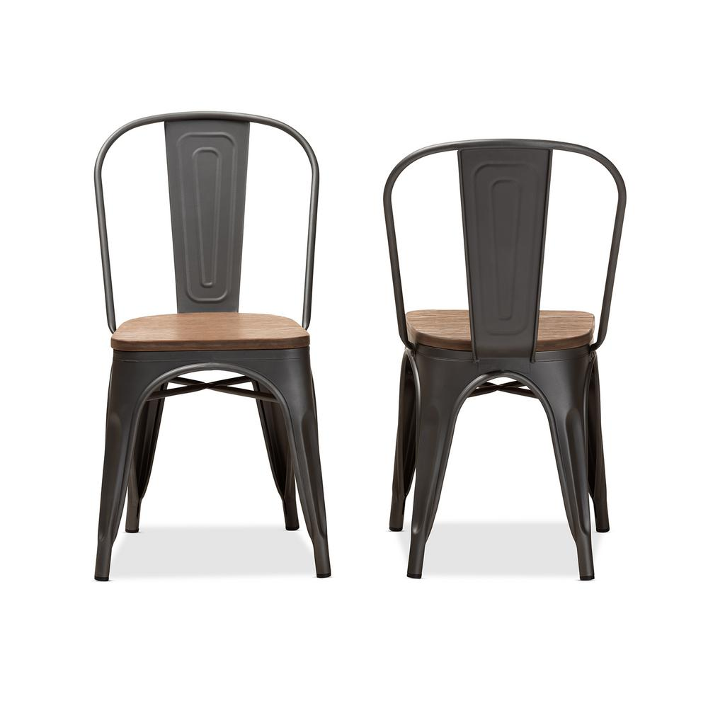 Henri Gunmetal Gray and Oak Brown Side Chair (Set of 2)