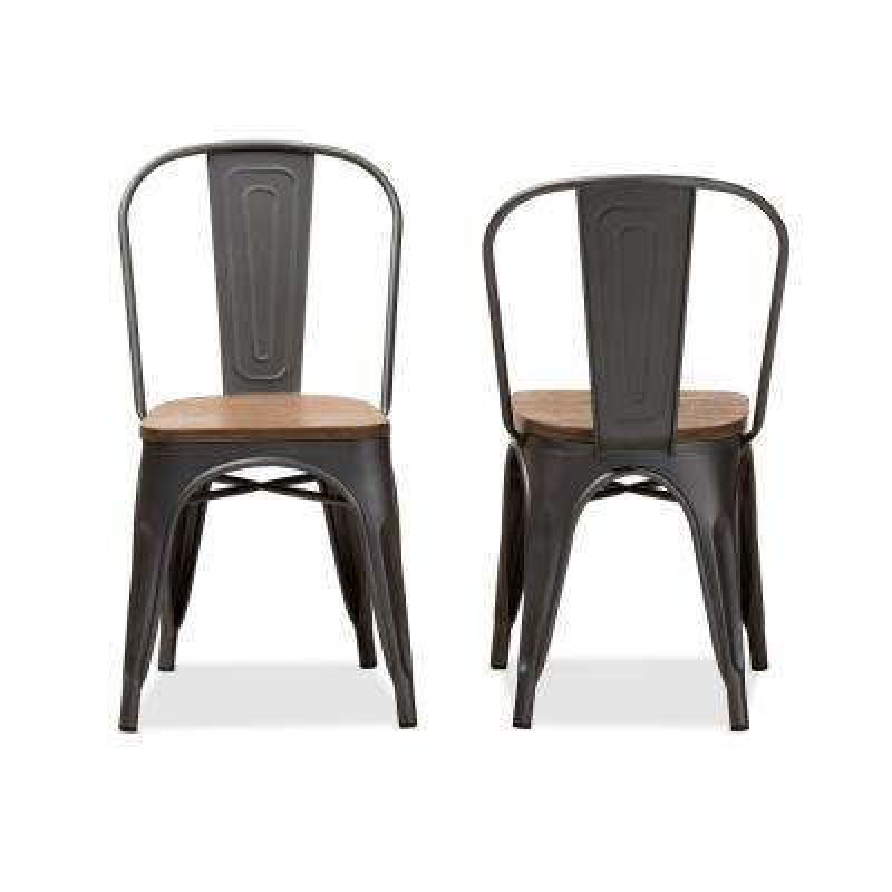 Henri Gunmetal Gray and Oak Brown Side Chair (Set of 2)