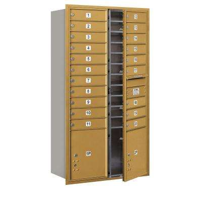 56 3/4 in. H x 31-1/8 in. W Gold Front Loading 4C Horizontal Mailbox with 20 MB1 Doors/2 PL's