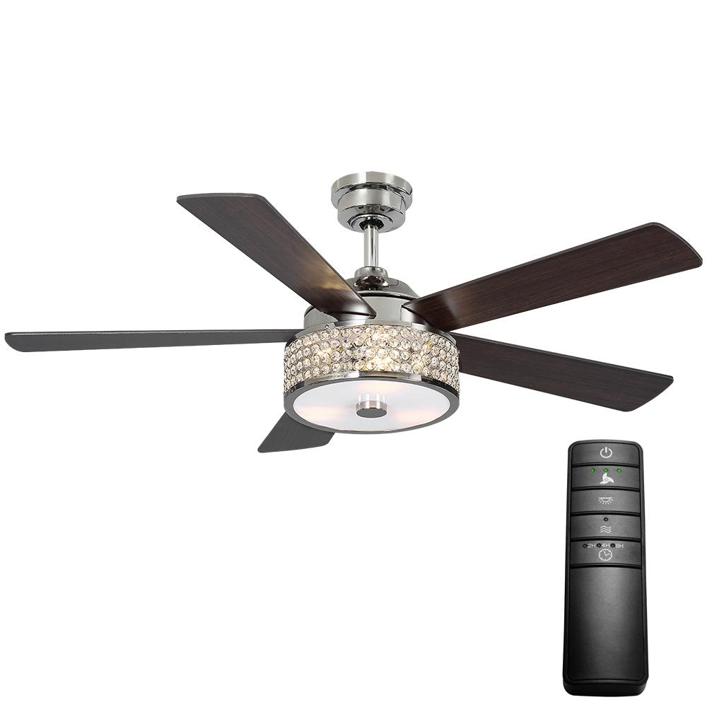 Home Decorators Collection Montclaire 52 in. LED Polished Nickel Ceiling Fan with Light Kit and Remote Control