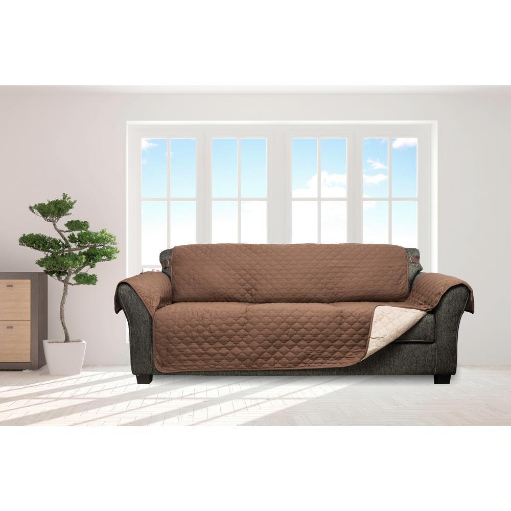 Jameson Chocolate and Natural Reversible Waterproof Microfiber Sofa Cover with Elastic Buckle