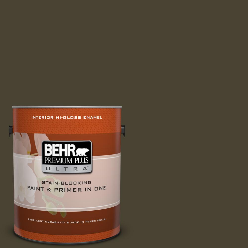 1 gal. #PPU5-1 Espresso Beans Hi-Gloss Enamel Interior Paint