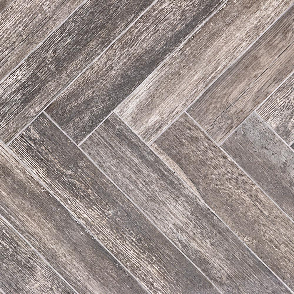 Ivy Hill Tile Grove Black 4 in. x 24 in. 9.5mm Natural Porcelain Tile (20-piece 12.91 sq. ft. / box)