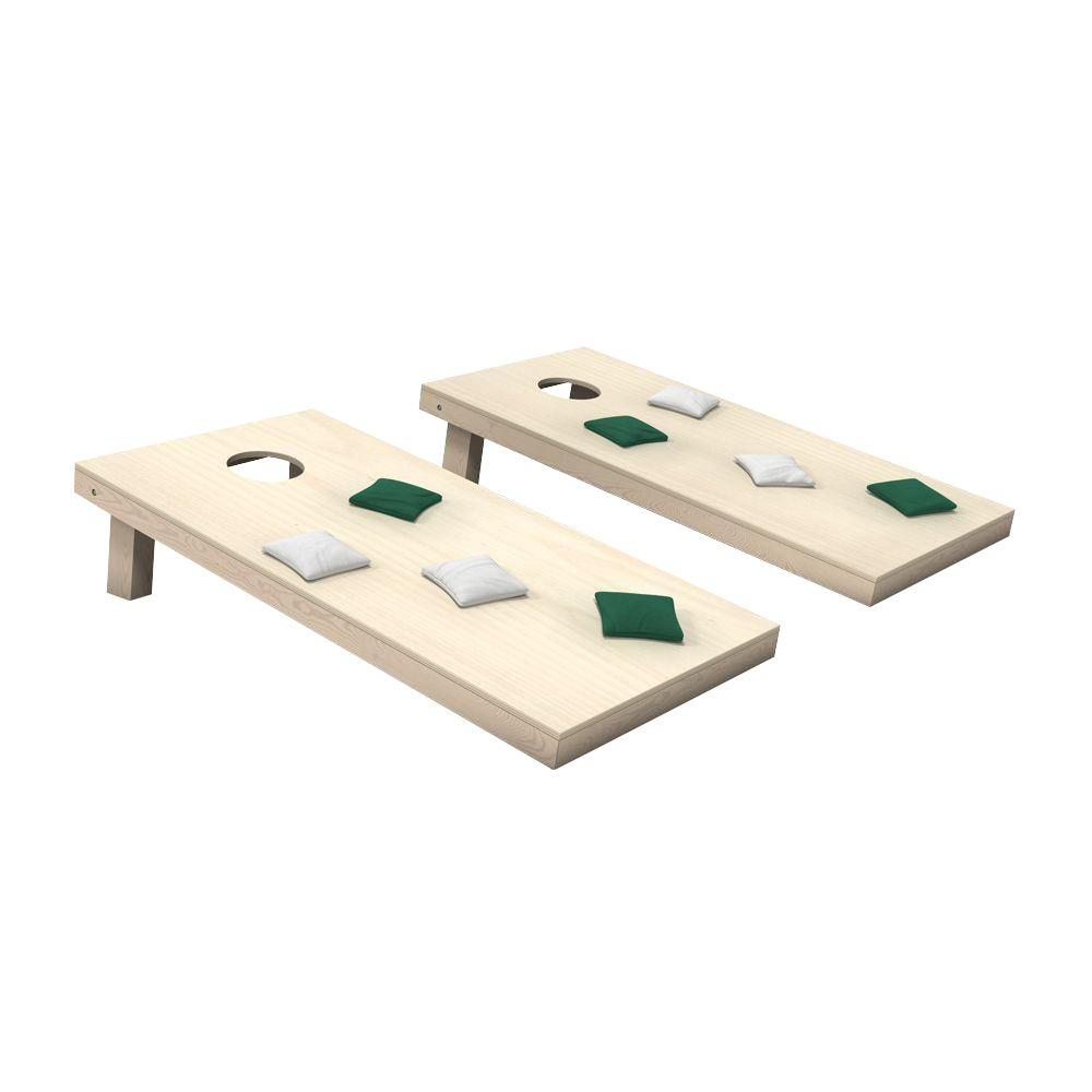null Wooden Cornhole Toss Game Set with Hunter Green and White Bags