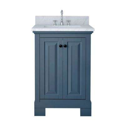 Richmond 24 in. W x 22 in. D Bath Vanity in Gray with Marble Vanity Top in White with White Basin