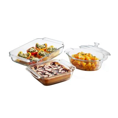 Baker's Premium 3-Piece Clear Glass Serving Dish Set with Cover