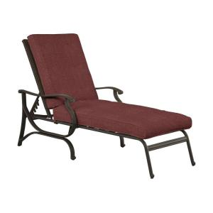 Hampton bay pembrey patio chaise lounge with chili for Chaise longue jardin brico depot