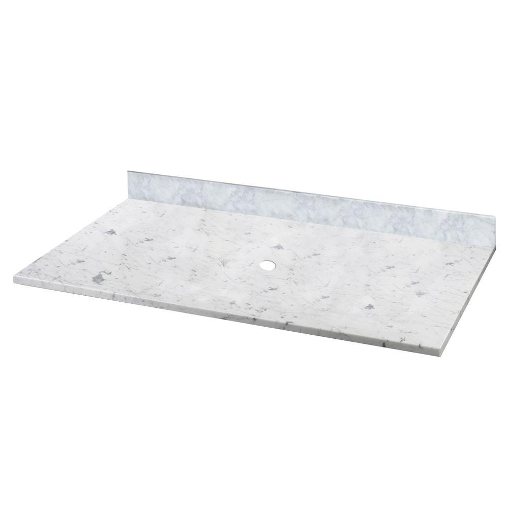 W Marble Vessel Vanity Top In Carrara Without Basin