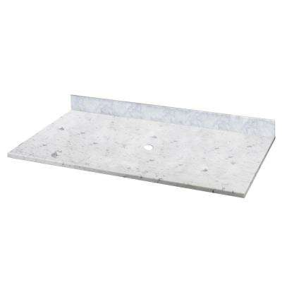 22 in. W Marble Vessel Vanity Top in Carrara without Basin