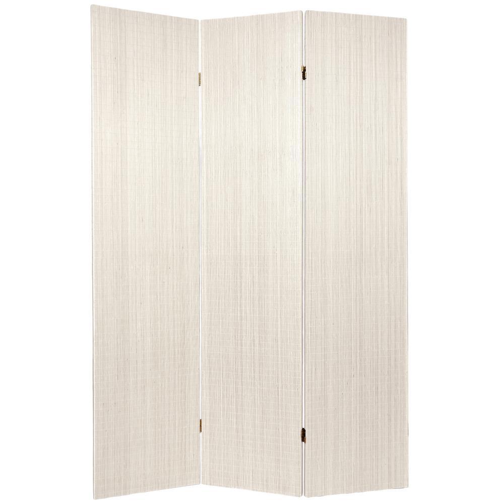 6 ft. White Framless Bamboo 3-Panel Room Divider