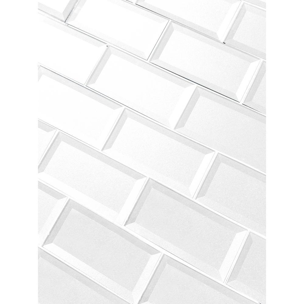 "Subway 3"" x 6"" Handmade Metallic White Beveled Glossy Glass Peel & Stick Decorative Bathroom Wall Tile Backsplash (8 Pk)"