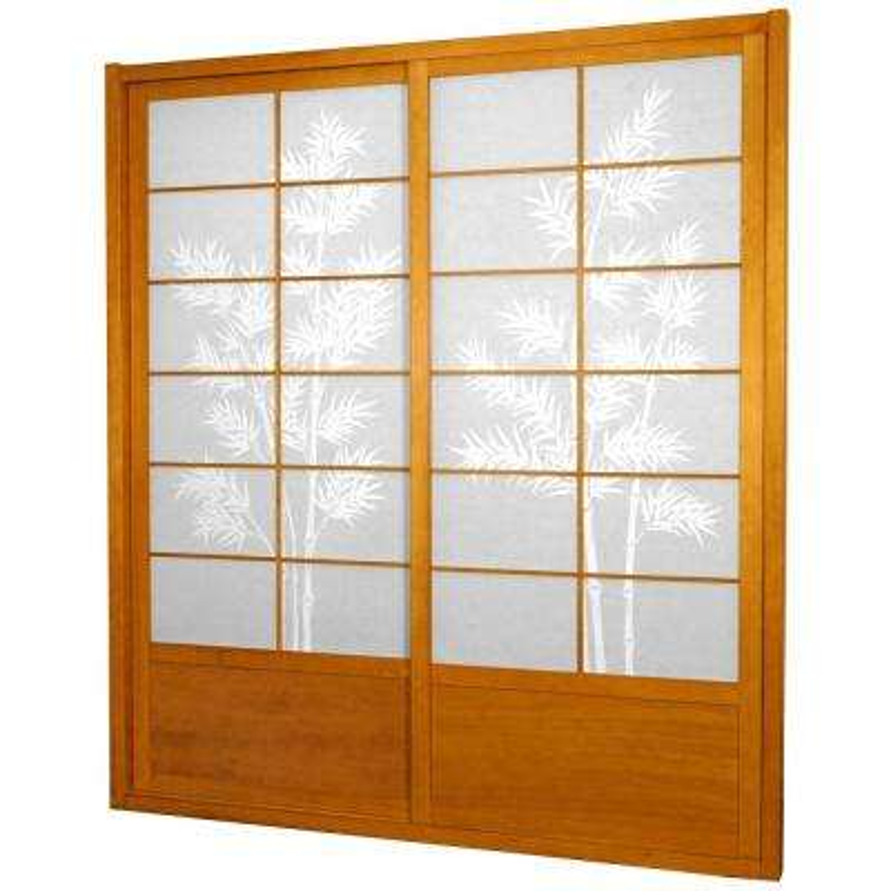 7 Ft. Honey Bamboo Tree 2 Panel Sliding Door