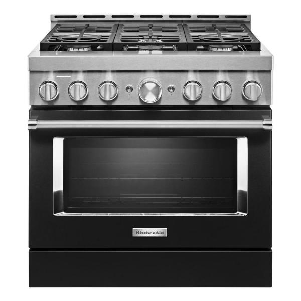 36 in. 5.1 cu. ft. Smart Commercial-Style Gas Range with Self-Cleaning and True Convection in Imperial Black