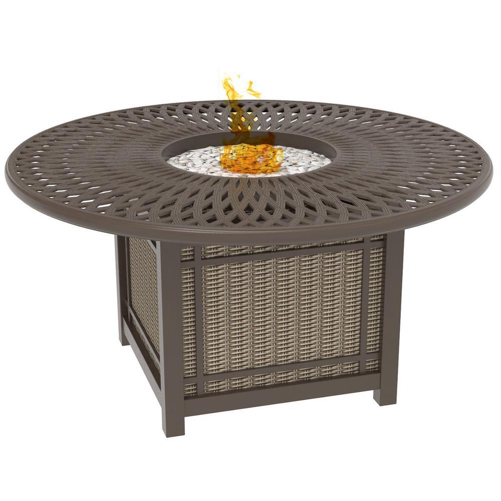 Hazelhurst Aluminum Outdoor Fire Chat Table with Cast Aluminum Table Top