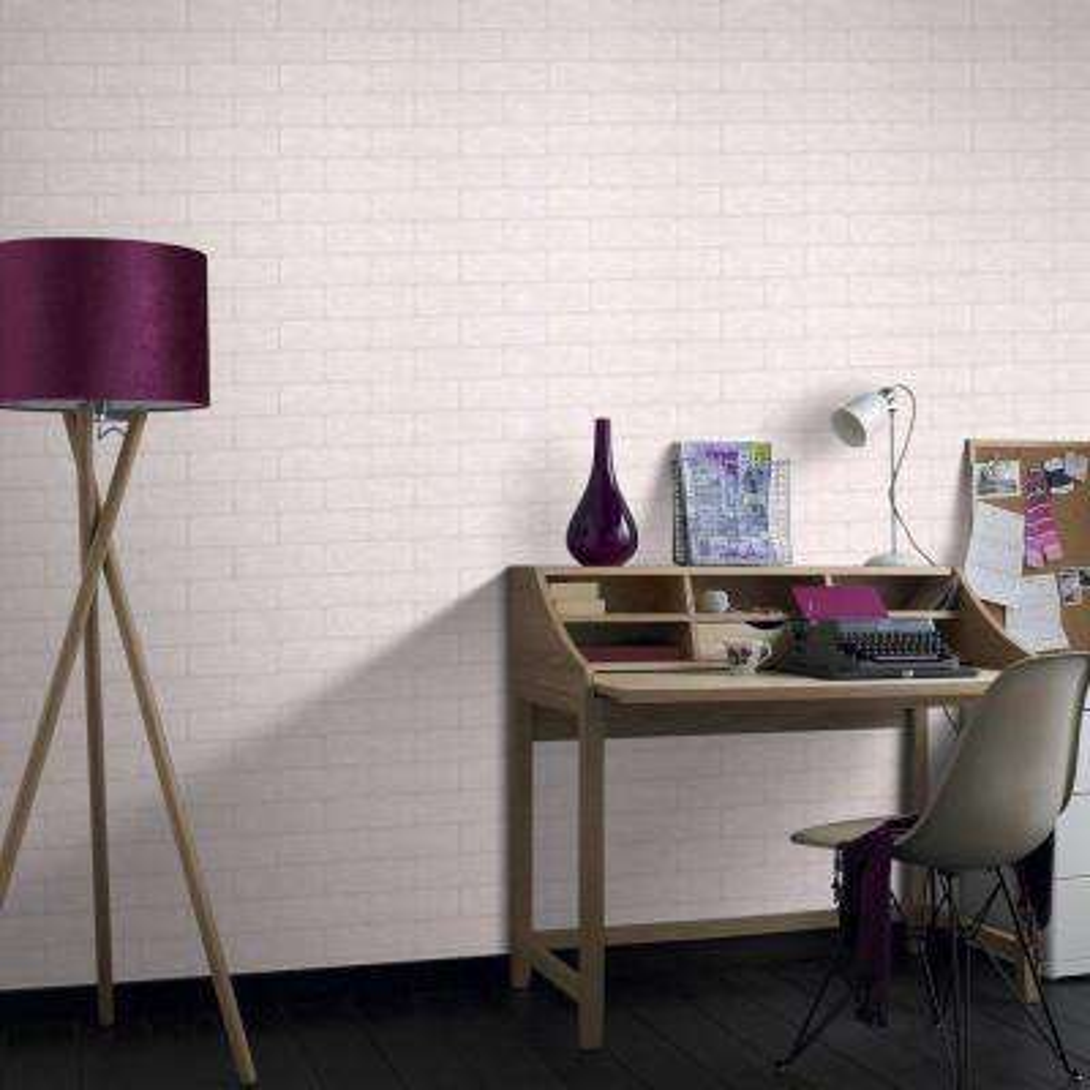 56 sq. ft. Brick Paintable White Wallpaper