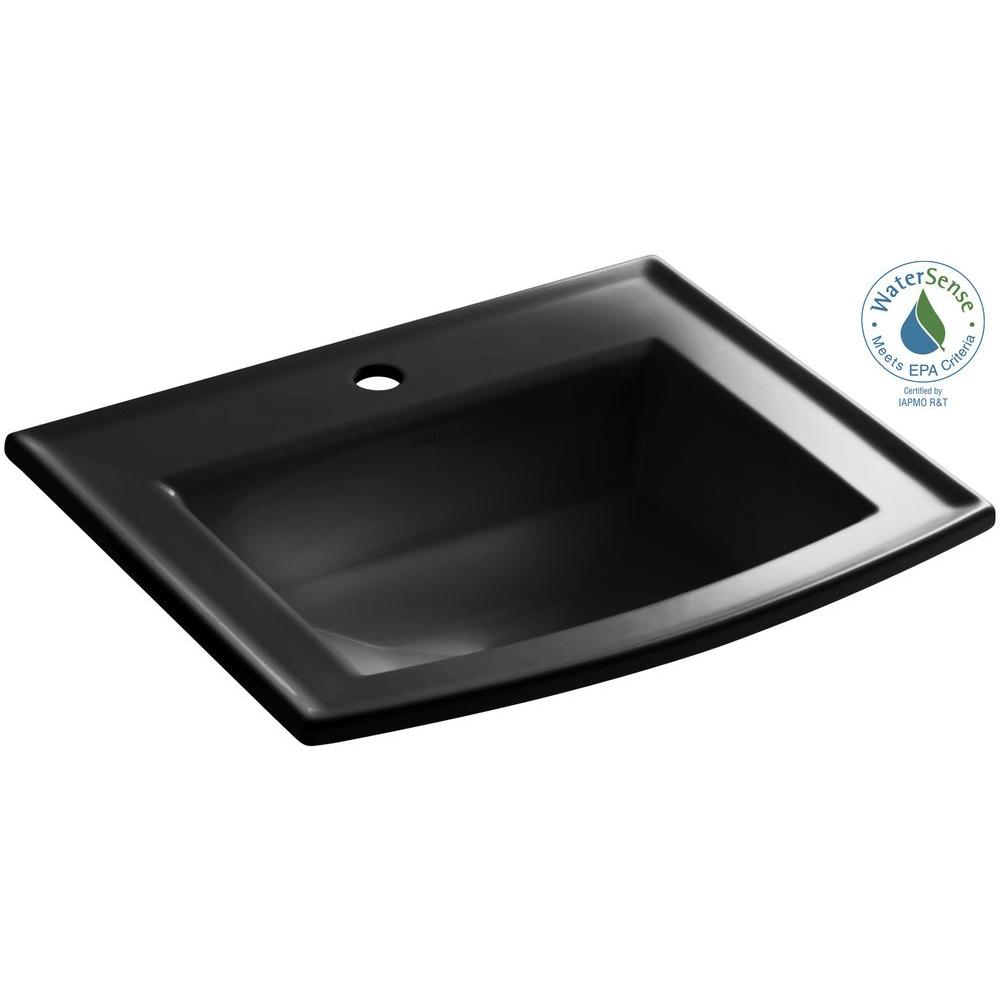 Archer Drop-In Vitreous China Bathroom Sink in Black Black with Overflow