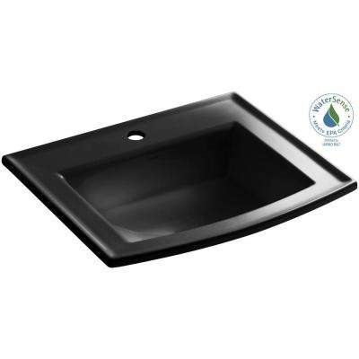 Archer Drop-In Vitreous China Bathroom Sink in Black Black with Overflow Drain