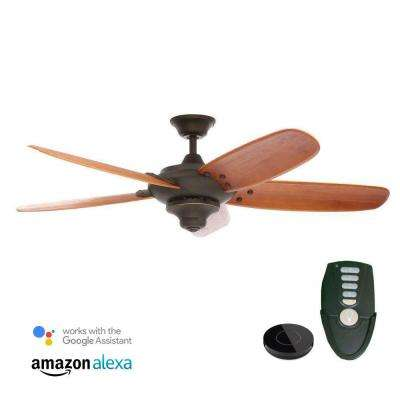 Altura 56 in. Oil Rubbed Bronze Ceiling Fan Works with Google Assistant and Alexa