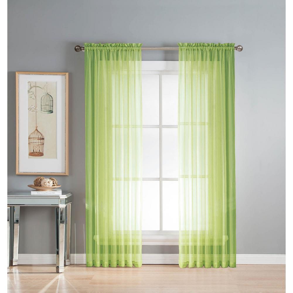 Sheer Sheer Elegance 84 in. L Rod Pocket Curtain Panel Pair, Lime (Set of 2)