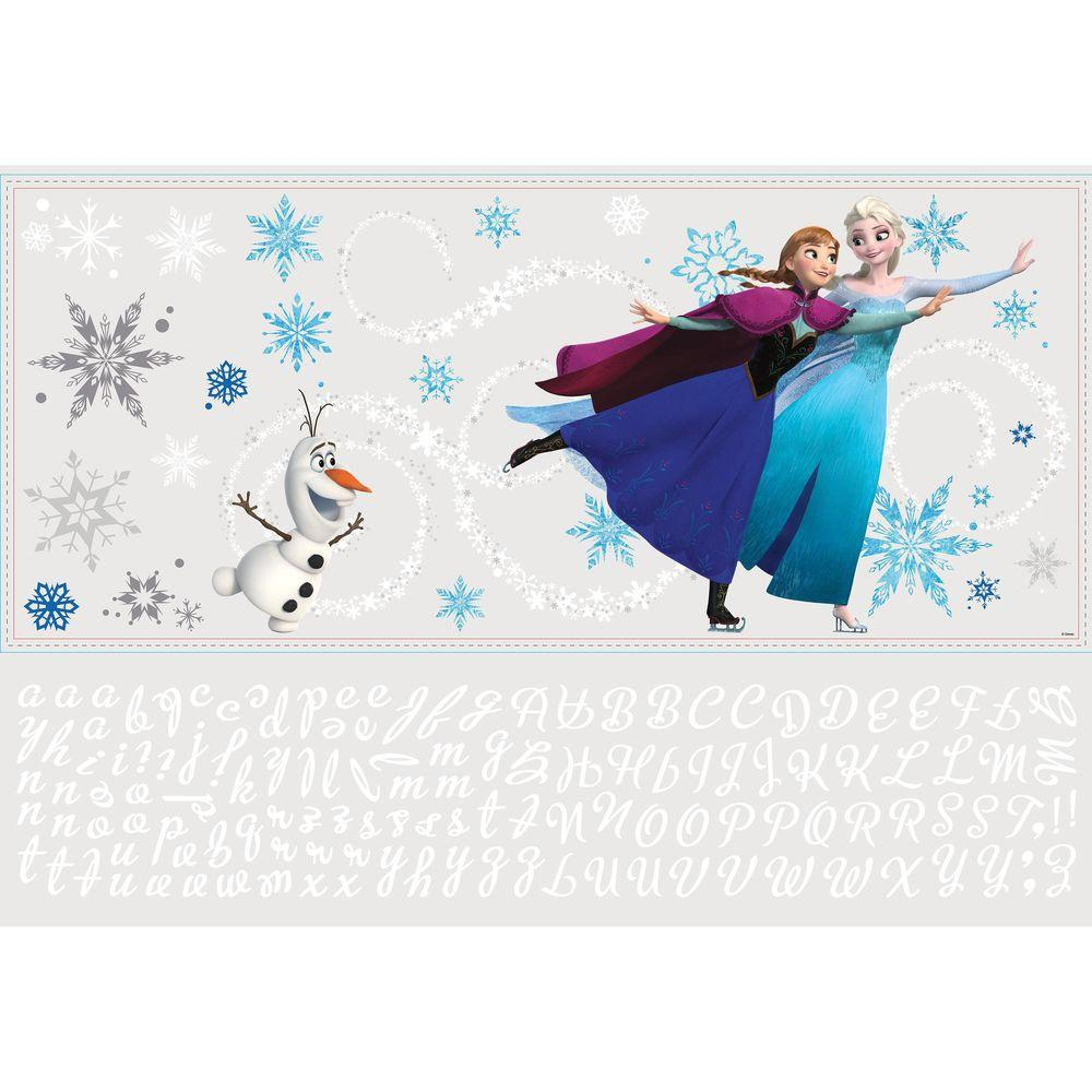 Frozen Custom Headboard Featuring Elsa, Anna And Olaf 144 Piece Peel And  Stick Giant Wall Decal RMK2738GM   The Home Depot