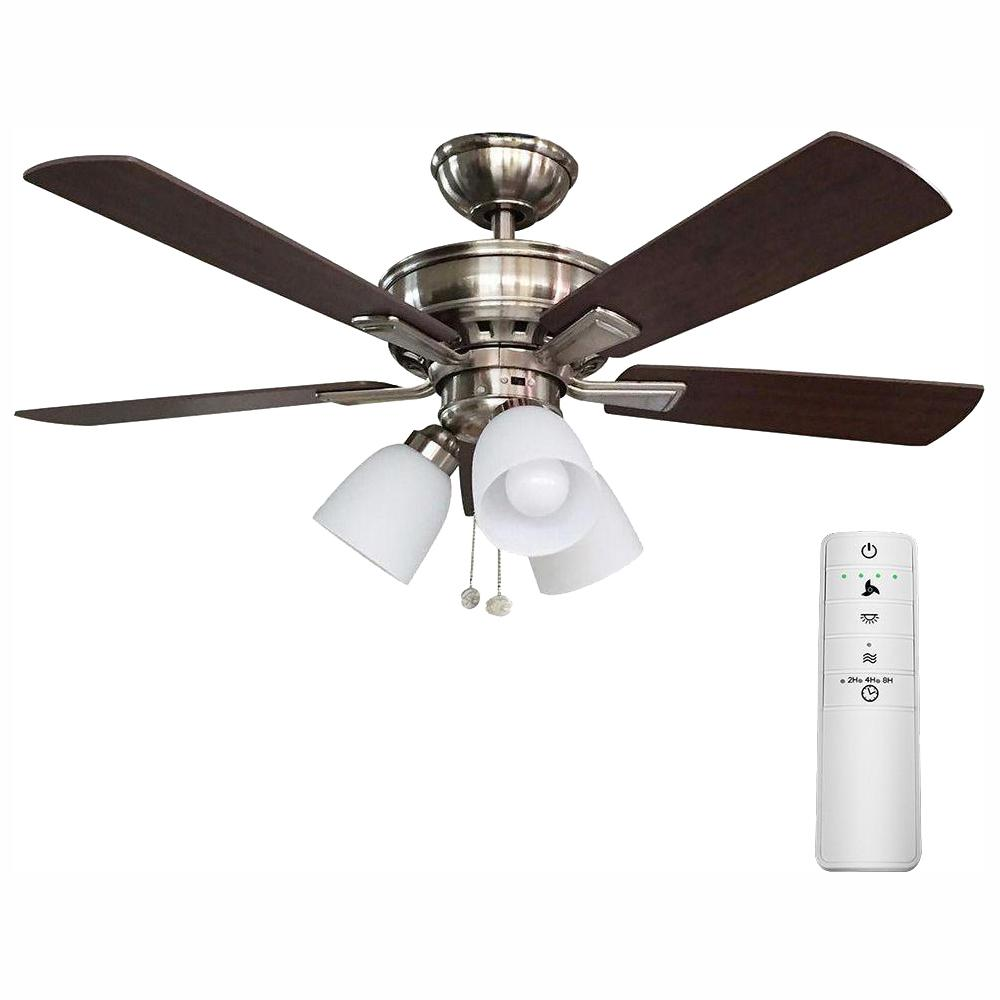 Hampton Bay Vaurgas 44 in  LED Brushed Nickel Smart Ceiling Fan with Light  Kit and WINK Remote Control