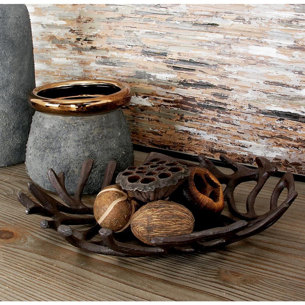 Brown Oval Vine Aluminum Decorative Bowls (Set of 2)