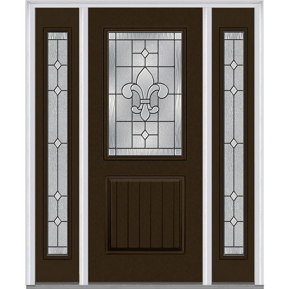64.5 in. x 81.75 in. Carrollton Decorative Glass 1/2 Lite Painted