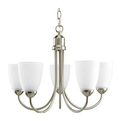 Gather 5-Light Brushed Nickel Chandelier with Etched Glass