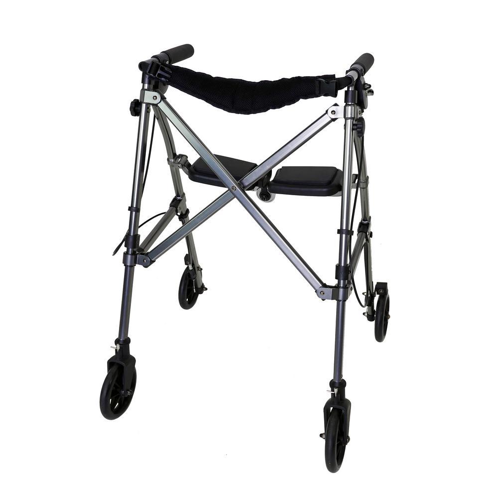 4-Wheel Space Saver Folding Travel Walking Aid Walker Rollator in Black Walnut