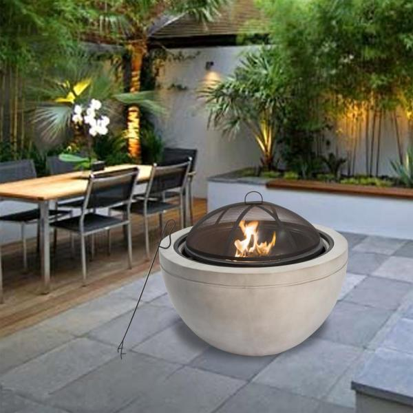 Peaktop 30 In X 22 83 In Round Wood Burning Outdoor Concrete Fire Pit Hr30180aa The Home Depot