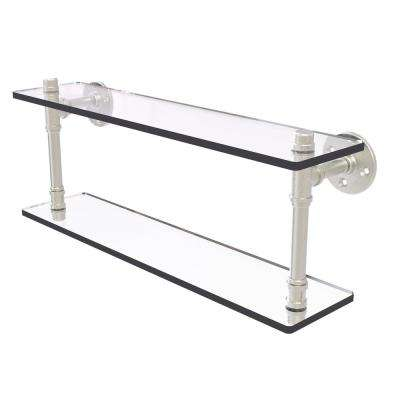 Pipeline Collection 22 in. Double Glass Shelf in Satin Nickel