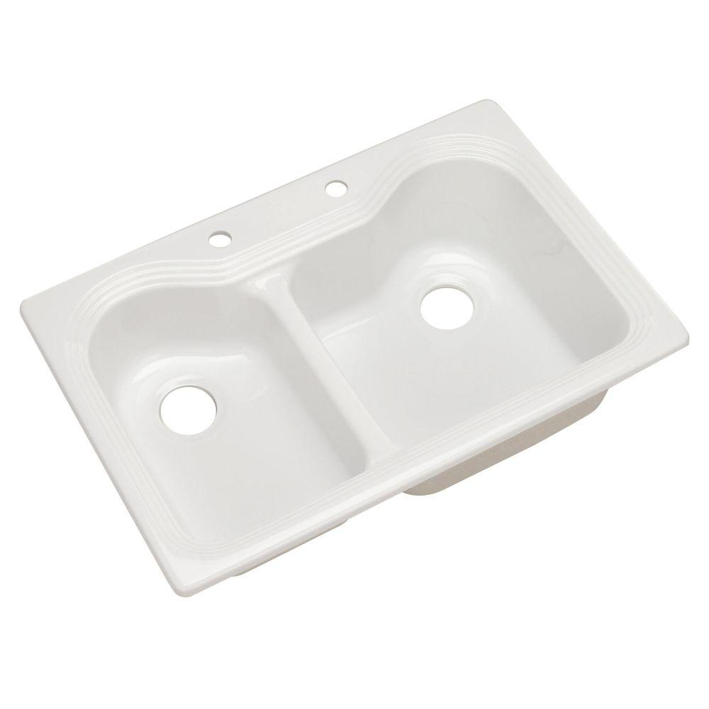 Breckenridge Drop-In Acrylic 33 in. 2-Hole Double Bowl Kitchen Sink in