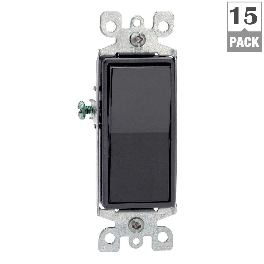 Decora 15 Amp 3-Way Switch, Black (15-Pack)