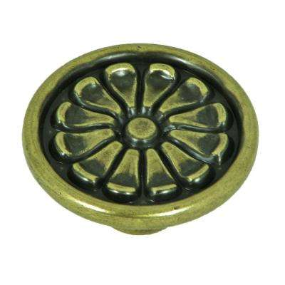 Aztek 1-5/8 in. Antique Brass Round Cabinet Knob (25-Pack)