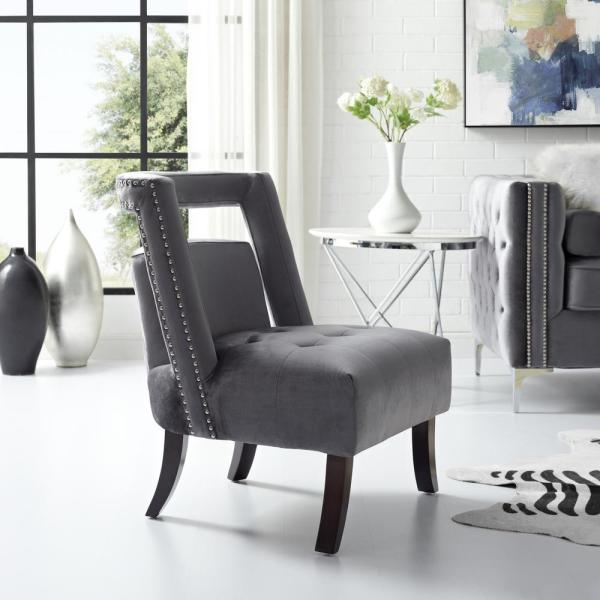Inspired Home Salvador Grey Velvet Button Tufted Armless Slipper Chair with