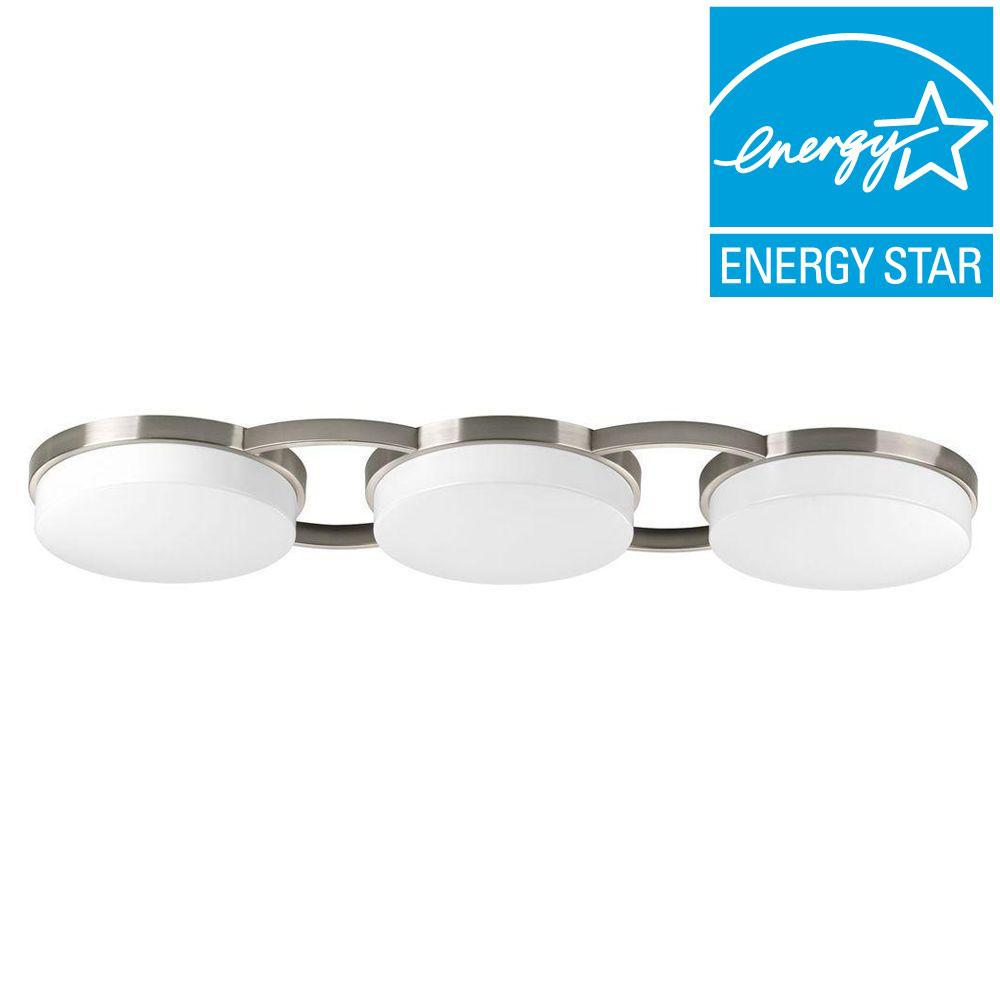Progress Lighting Bingo Collection 3-Light LED Brushed Nickel Flush Mount