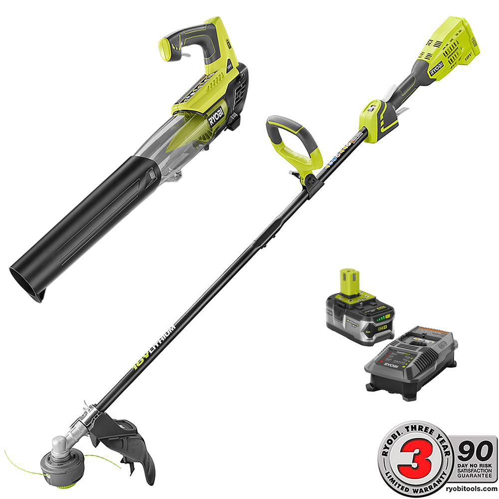 Ryobi One+ 18-Volt Lithium Brushless String Trimmer and J...