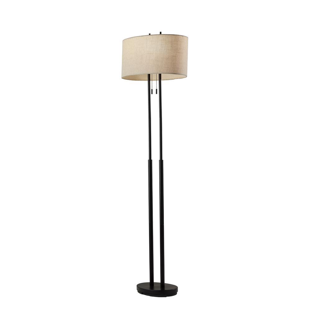 Adesso Duet 62 In H Bronze Floor Lamp 4016 26 The Home Depot
