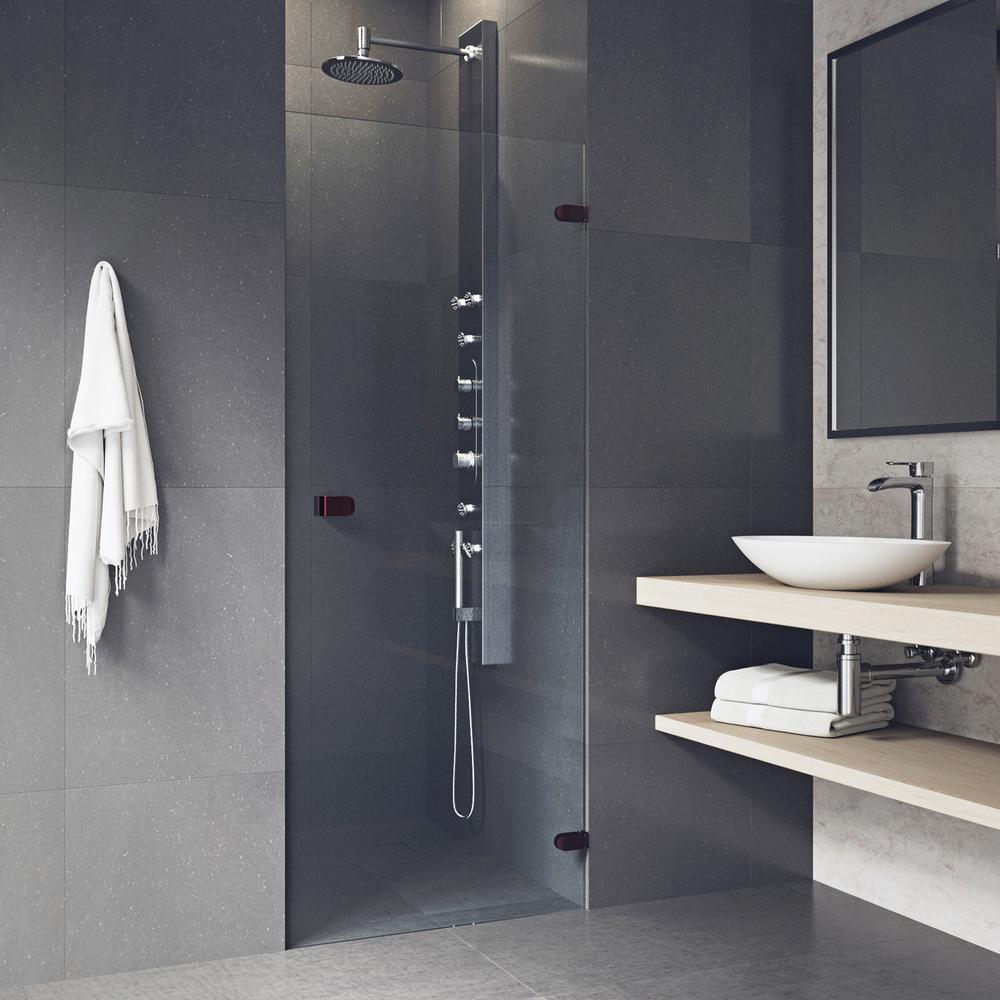 vigo tempo 24 5 in x 70 625 in frameless pivot shower door with