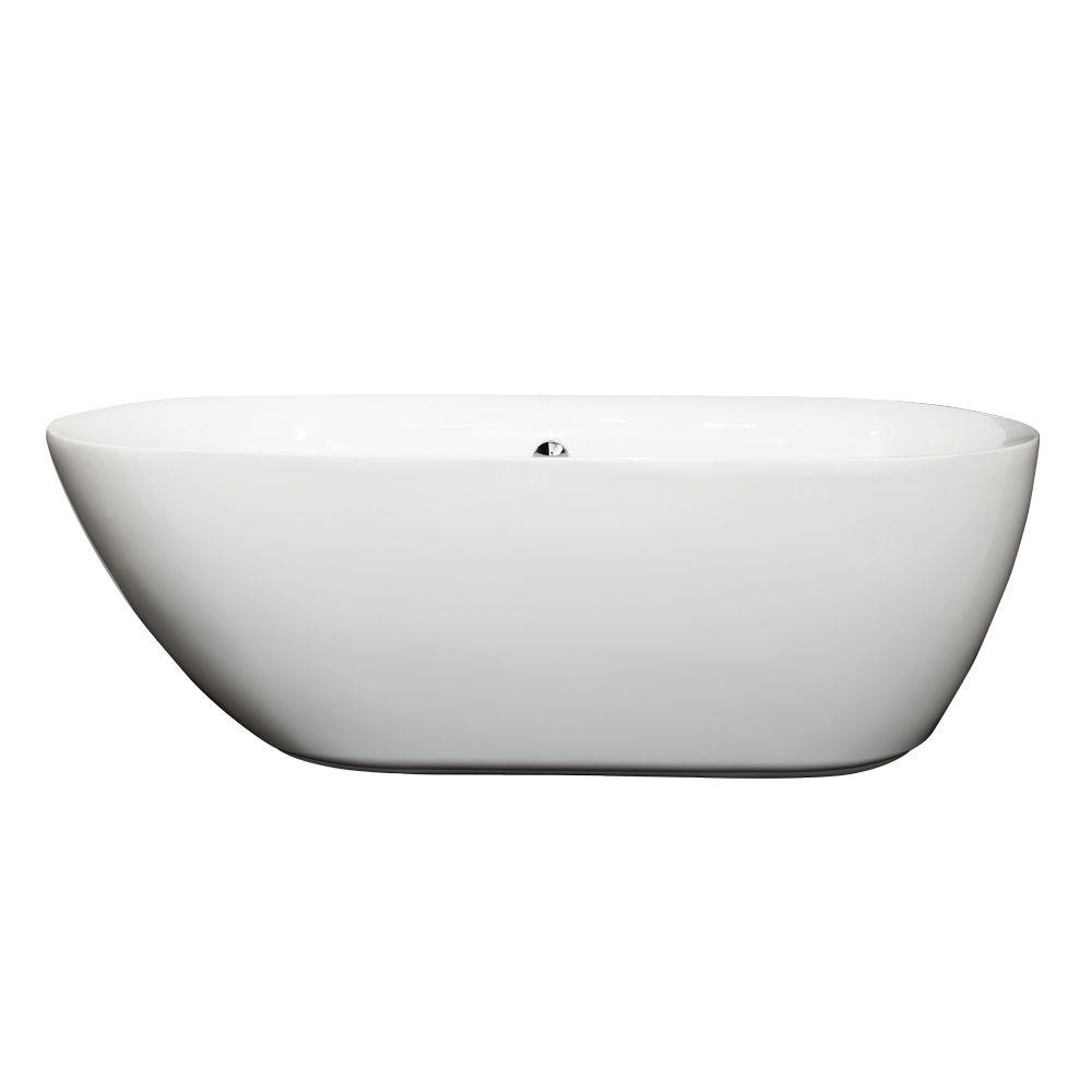 Wyndham Collection Melissa 5.42 ft. Center Drain Soaking Tub in ...