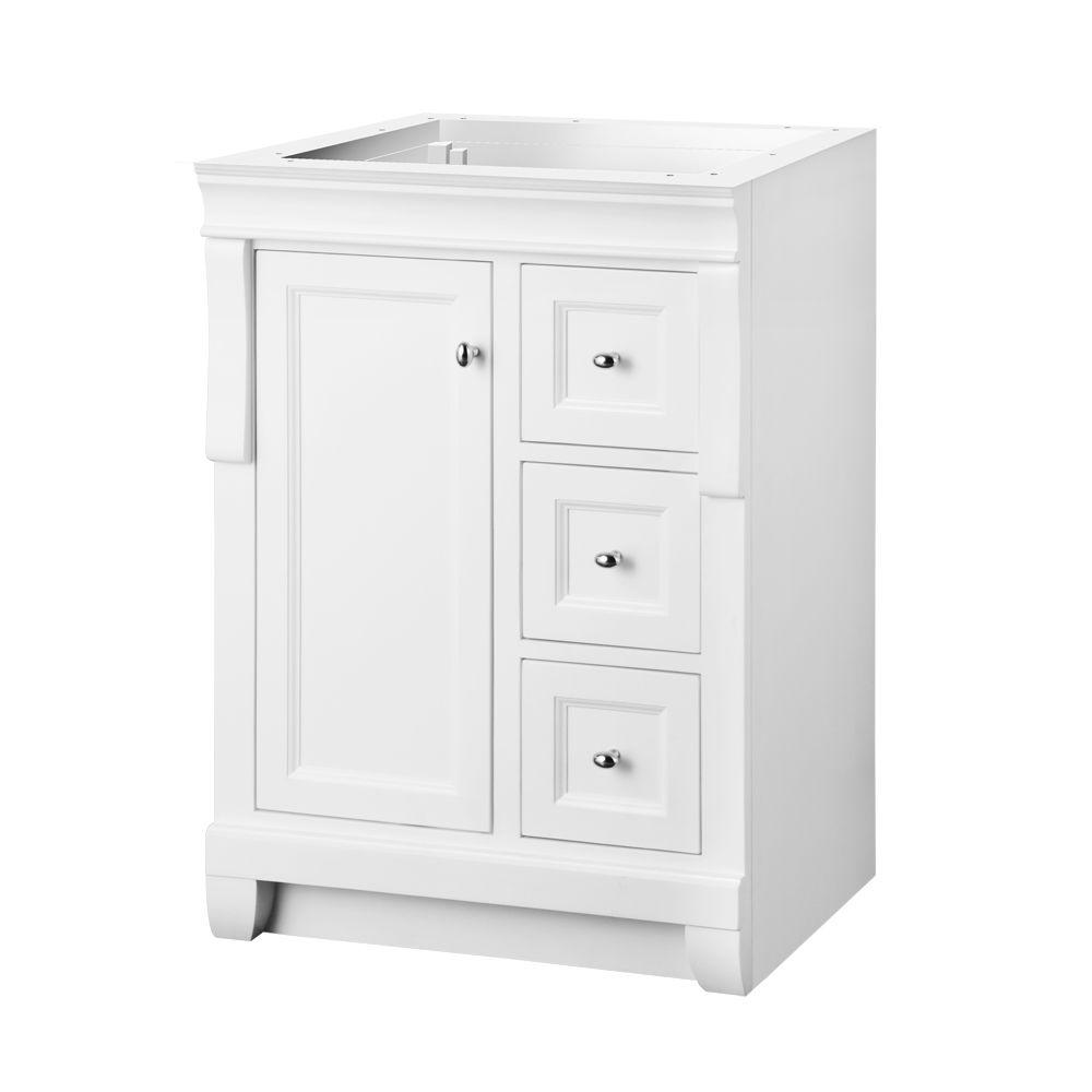 Home Decorators Collection Naples 24 In W Bath Vanity Cabinet Only In White With Right Hand Drawers