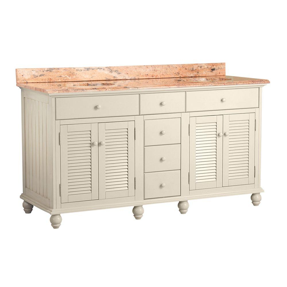 Foremost Cottage 61 in. W x 22 in. D Vanity in Antique White with Vanity Top in Bordeaux