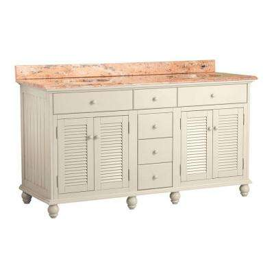 Cottage 61 in. W x 22 in. D Vanity in Antique White with Vanity Top in Bordeaux