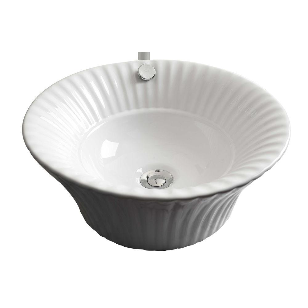 American Imaginations 17-in. W x 17-in. D Above Counter Round Vessel Sink In White Color For Deck Mount Faucet
