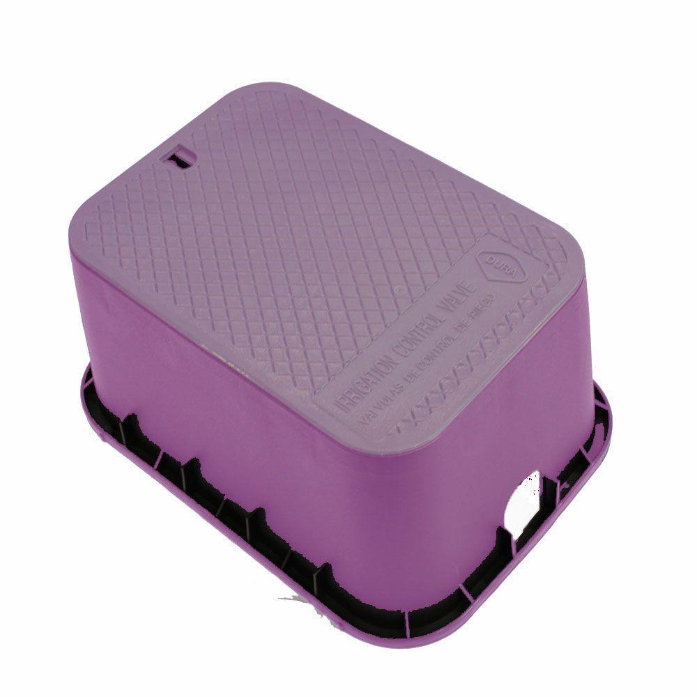 15 in. x 21 in. x 12 in. Deep Rectangular Valve Box in Purple Body Purple Lid