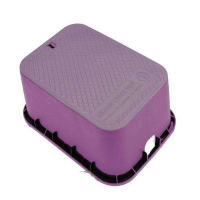 15 in. x 21 in. x 12 in. Deep Rectangular Valve Box in Purple Body Purple Lid