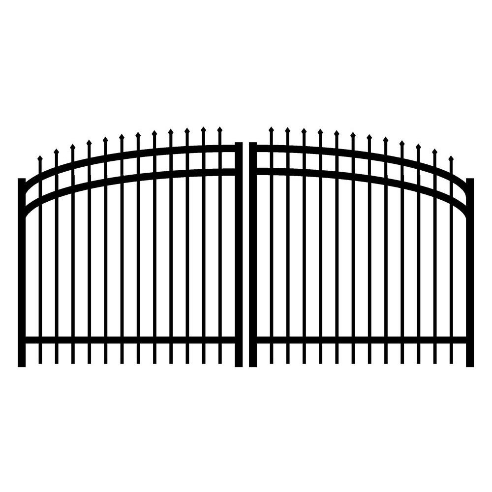 Jerith Washington 10 ft. W x 4.5 ft. H Double Drive Aluminum Black Arched Gate-DISCONTINUED