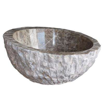 Angled Chiseled Natural Stone Vessel Sink in Brown