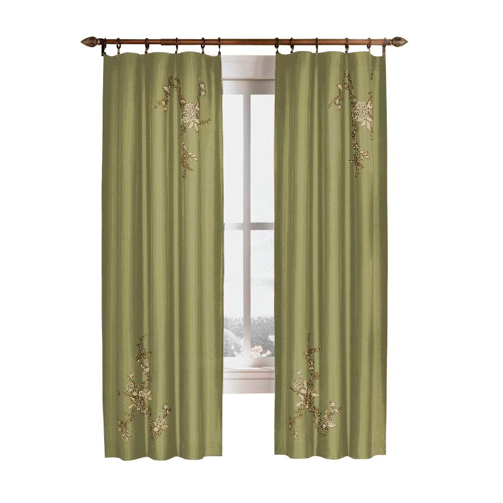 Semi-Opaque Sage Asia Faux Silk Rod Pocket Curtain - 44 in.